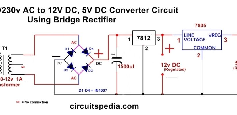 220 230v Ac To 12v 5v Dc Regulated Power Dc Converter Bridge Rectifier Simple Circuit Power Supply Circuit Dc Circuit