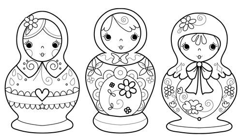 Russian Stacking Dolls Coloring Page | Bogg's Blog: Three ...