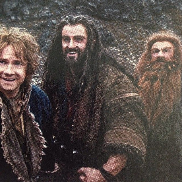 Bilbo and Thorin are all happy-like and then there's Gloin with a look of terror (: