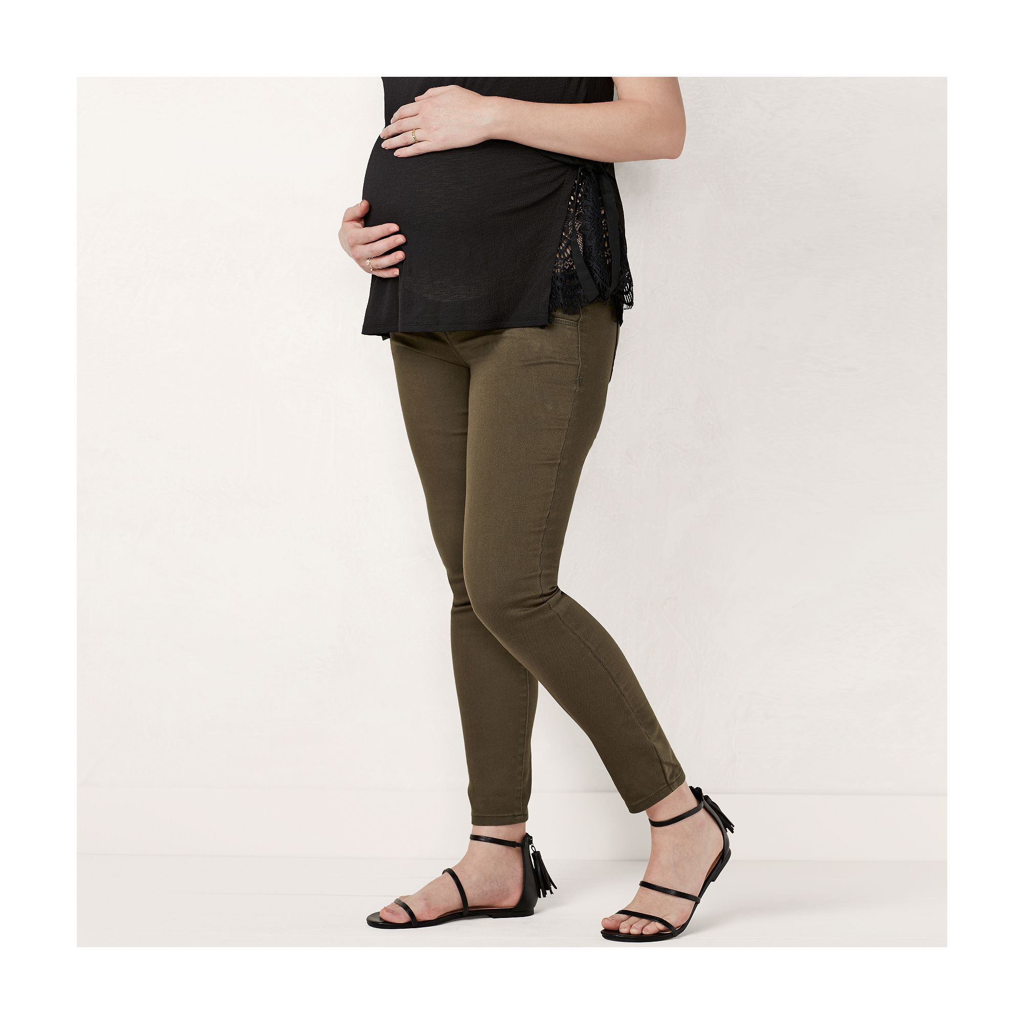 4e67b35f6ef29 Maternity LC Lauren Conrad Belly Panel Jeggings, Women's, Size: 10-Mat,  Green
