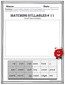 This Packet Includes An Exclusive List Of  Two Syllable Words Containing The Vowel Teamsdigraphs