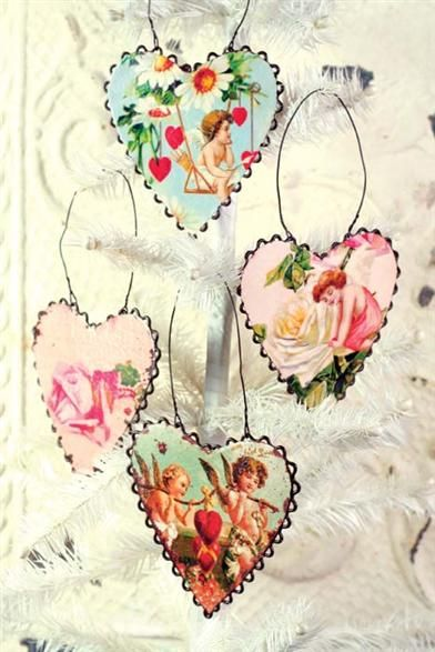 Victorian Trading Co Blue /& Pink Watercolor Roses Tin Heart Cutout Ornaments New