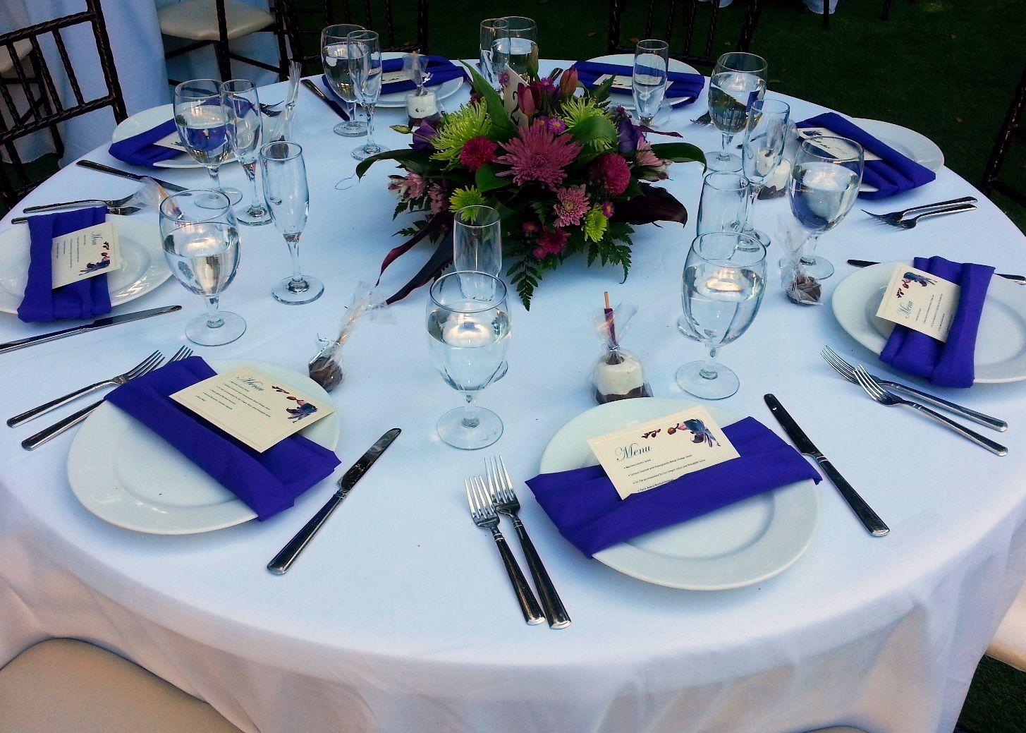 Purple Napkins White Tablecloths Wedding Reception