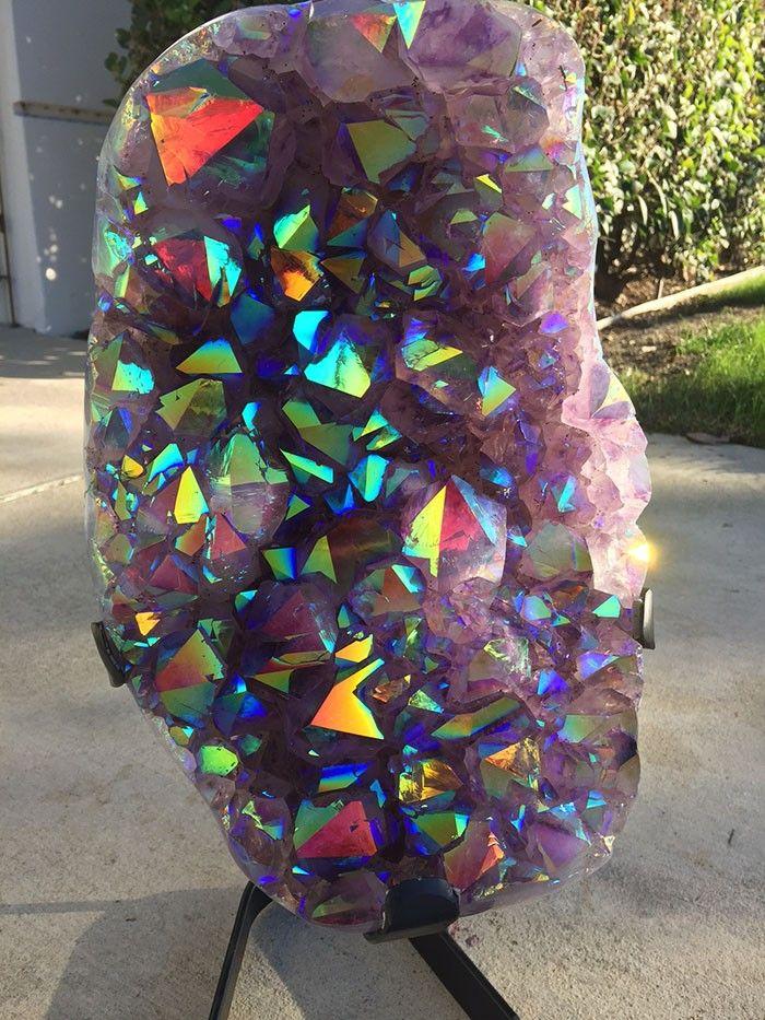 Rainbow Aura Brazilian Amethyst Geode Display Crystal ...