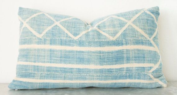 Light African Indigo Pillow Cover 12x20 by ThreadTooth on Etsy
