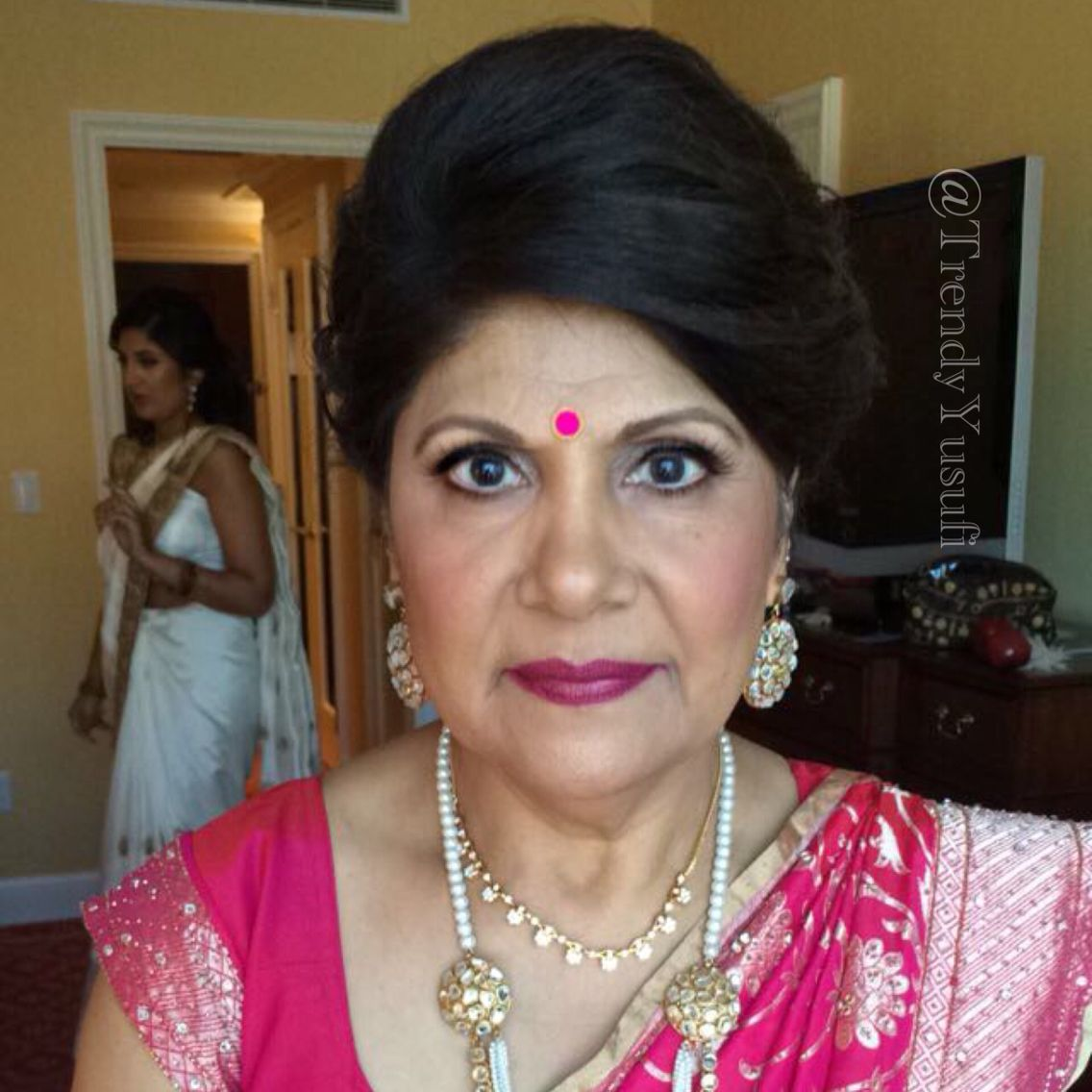 Mother Of The Groom Makeup And Hairstyling Indian Bridal Hairstyling And Makeup By Michele Yusufi Email Her For Bookings Mi Hair Styles Beauty Hair Makeup