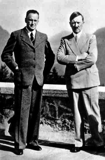 Photo Henlein et Hitler ensemble au nid d'aigle du führer