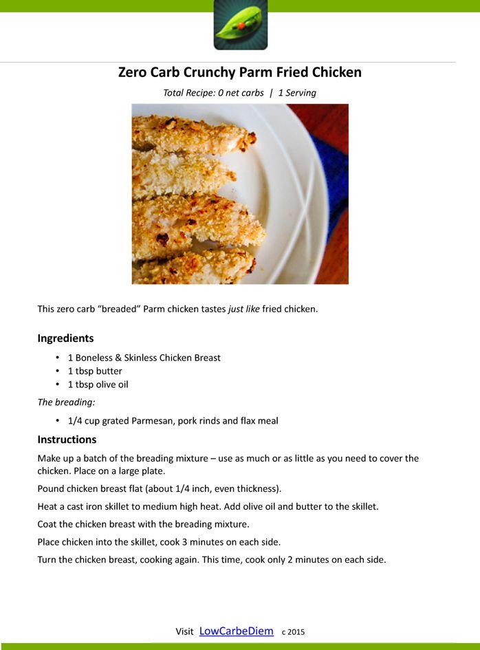 Zero Carb Crunchy Parm Fried Chicken Recipe Card Zero