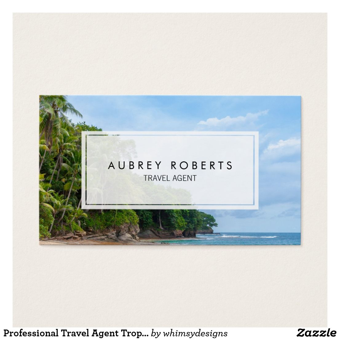 Professional Travel Agent Tropical Beach Business Card | Tropical ...