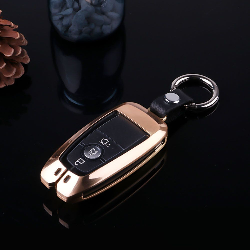 Atobabi Zinc Alloy Fob Key Case Cover For Ford Explorer Edge Expedition F 450 F 350 F250 F150 Fusion Mustang 2017 2018 Smart Key Re Key Case For Car Key C