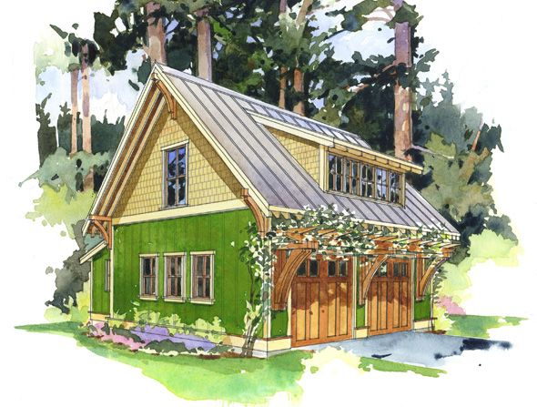 The Forest Studio ~ This efficient little garage building is designed to accommodate three uses. (1) a two car garage, (2) potting alcove or shop and (3) accommodations above ideal as a small residence, art studio or home office.