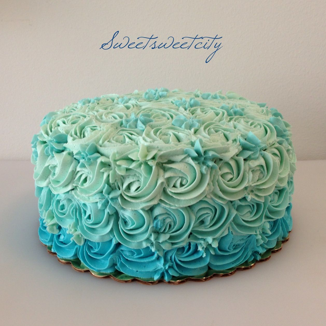 Blue Ombre Rose Cake