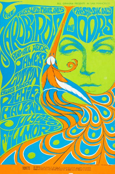 The Yardbirds/The Doors /James Cotton Blues Band/Richie Havens,   July, 25-30 - 1967 - Fillmore Auditorium   (San Francisco, CA) Art byBonnie MacLean
