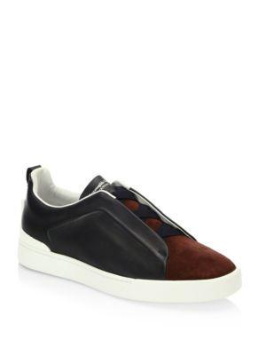 Trendy Sneakers Ermenegildo Zegna Suede Leather Sneakers Grey Men's Shoes US Online