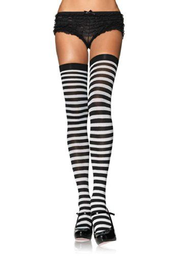 One Size Fits Most Womens Black Striped Thigh Highs With Bows