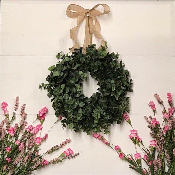 Photo of MINI Eucalyptus Wreath, Mini Farmhouse Wreath, Farmhouse Wreath, Eucalyptus Wreath, Window Wreath, Small Wreath, Farmhouse Decor, Gift