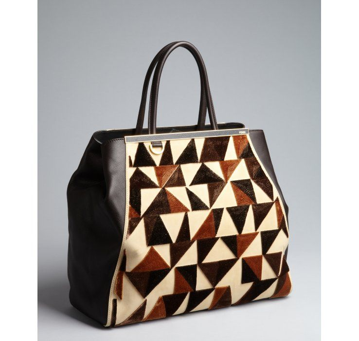 Fendi brown and beige leather and suede '2Jours Large' triangle detail tote