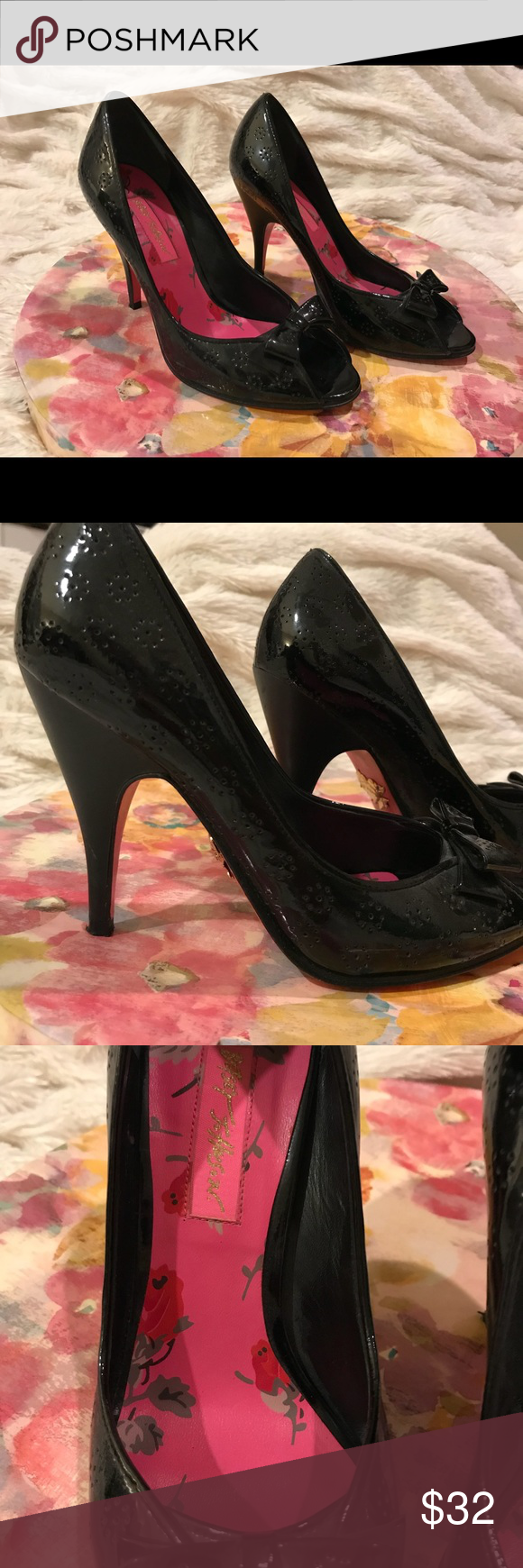 923317b67fe7 Betsy Johnson black patent herls Worn once for shoe fashion show. Patent  leather. 3 inch heel Betsey Johnson Shoes Heels