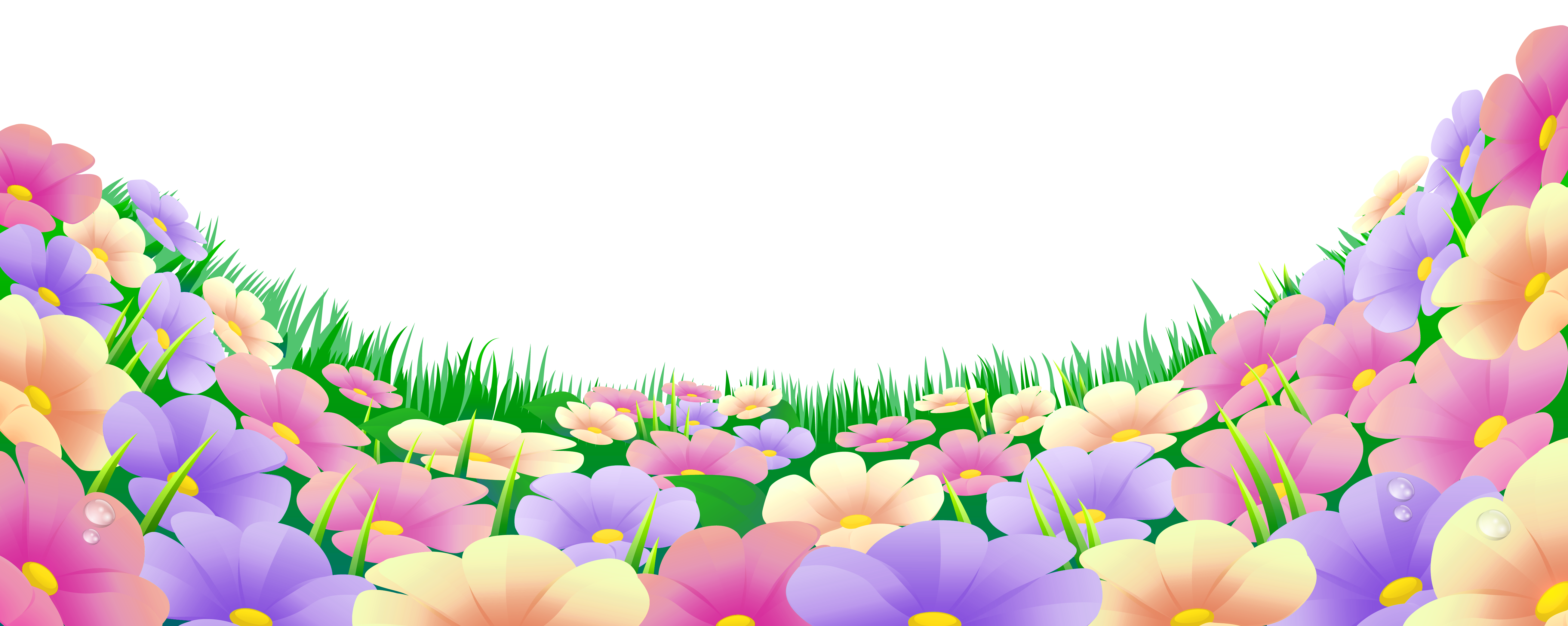 Grass with Beautiful Flowers PNG Clipart Flores