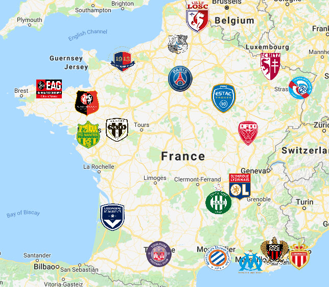Ligue 1 Map Futebol Clubes