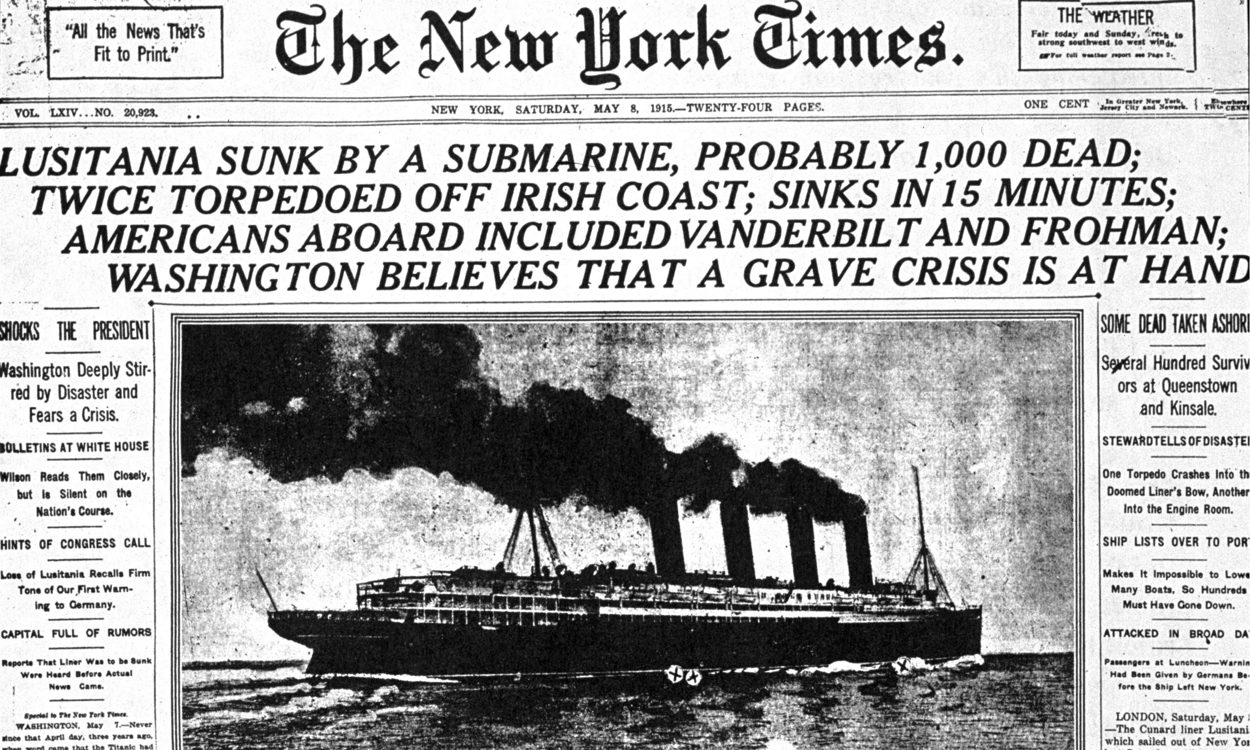Rms lusitania wreck rms lusitania wreck quotes - New York Times Reports The Cunard Liner Lusitania Sunk May 8 1915
