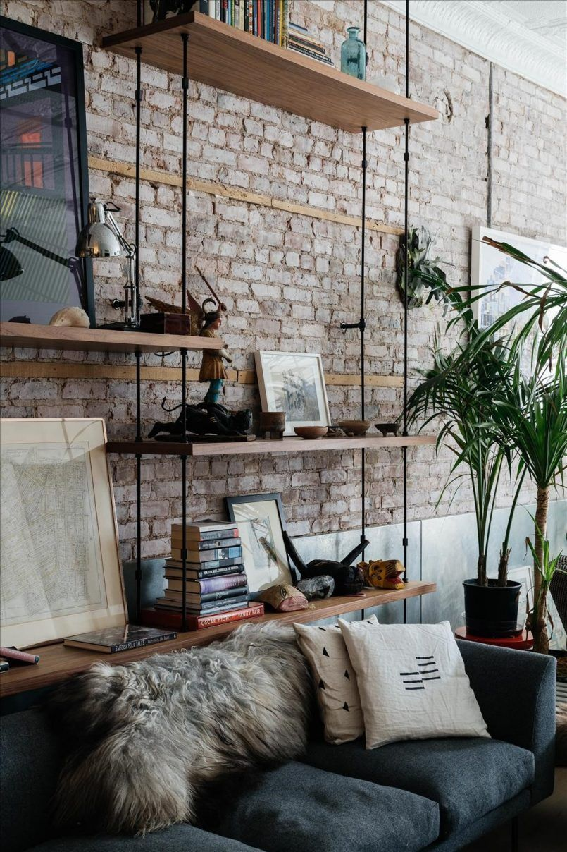 Living Room Brown Brick Wall Wooden Rack Black Couch White Cushion ...