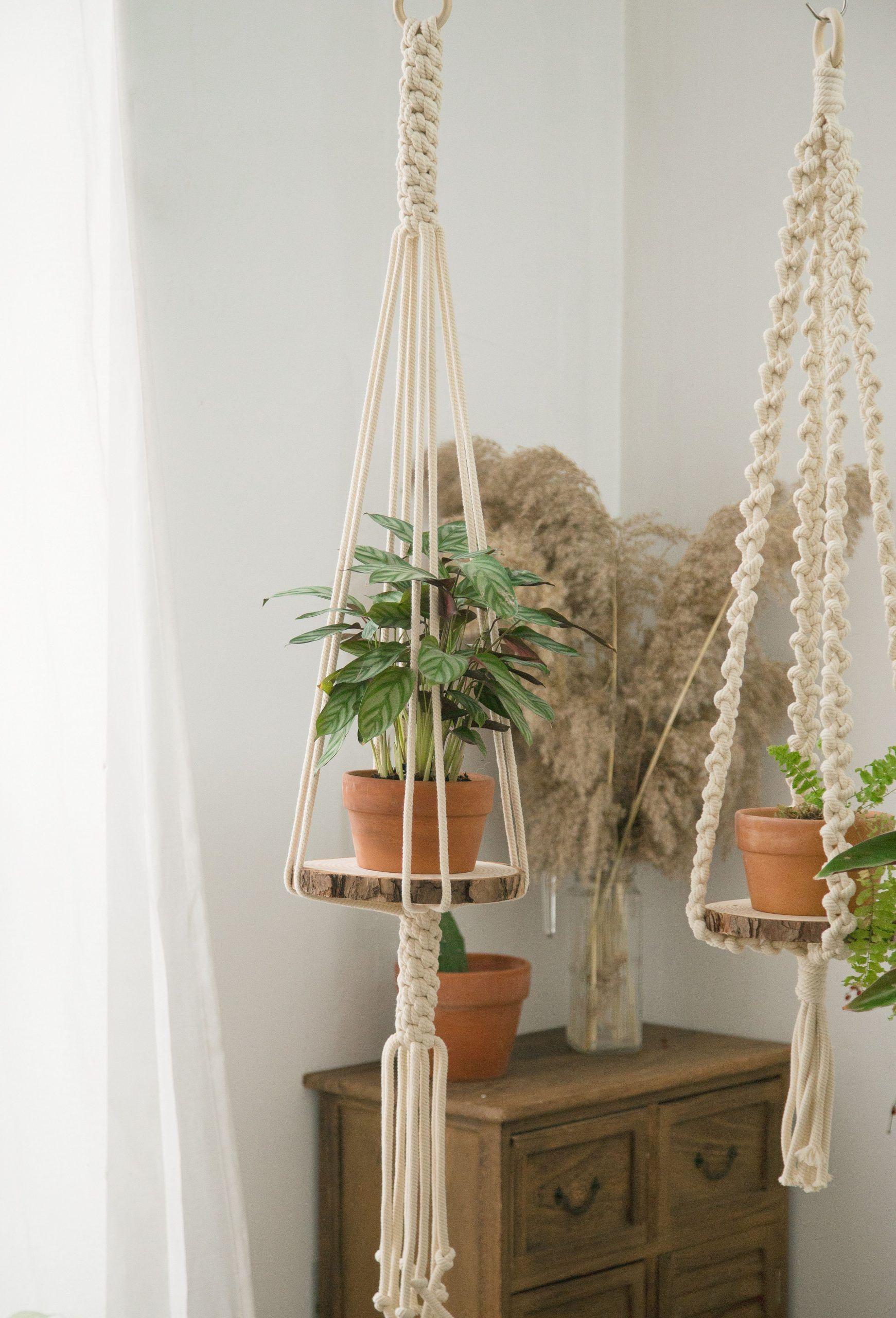 Large macrame plant hanger long hanging shelf suspended