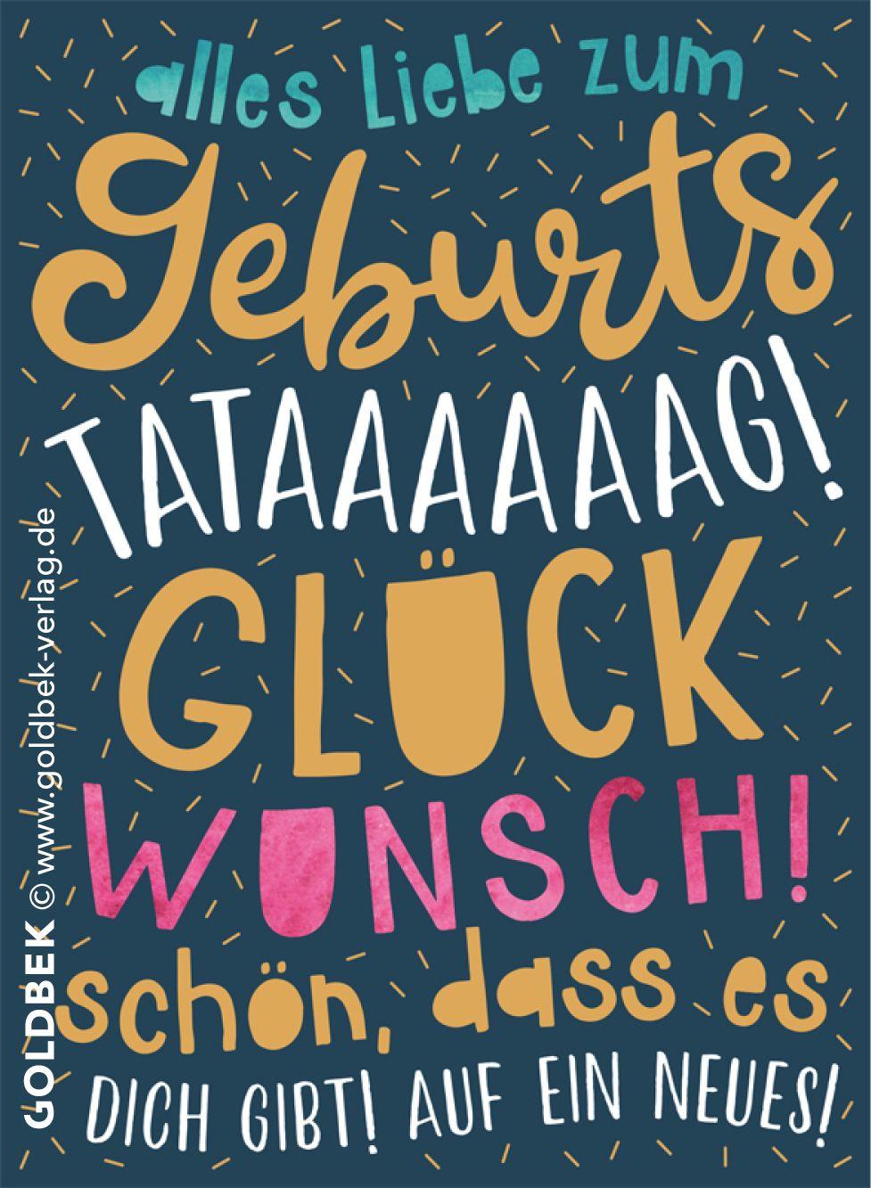 Postkarten Geburtstag Moderne Typo Karte Mit Schonem Goldlack