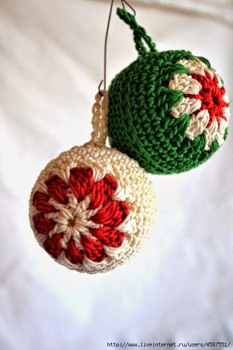 Todo crochet Esferas para el rbol de Navidad al crochet Crochet