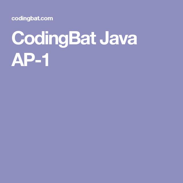 CodingBat Java AP-1   Computer Science   Computer science, Java, Science