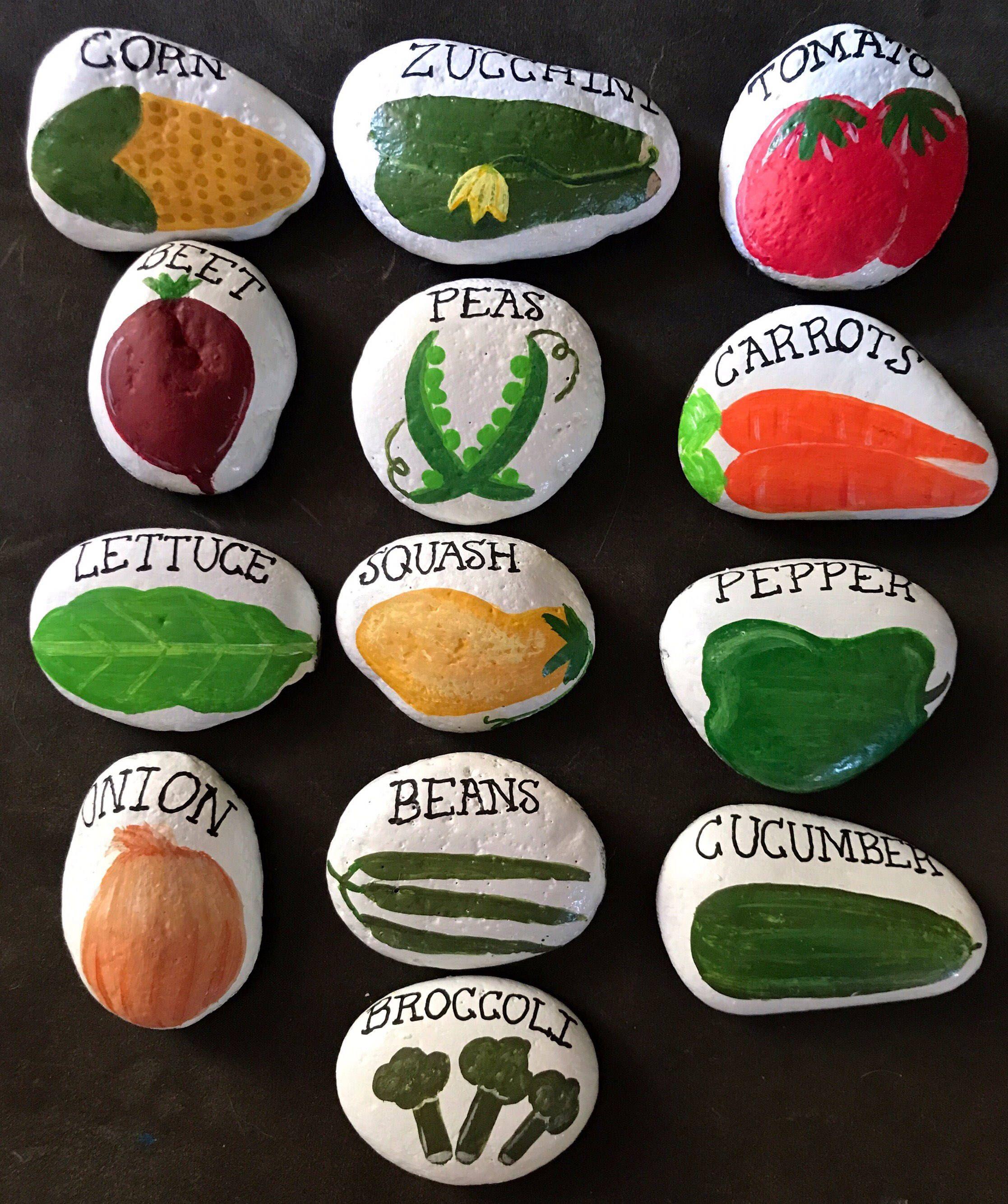 Set 13 Vegetable Garden Stone Marker Painted Rocks Vegetables