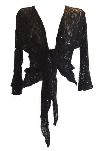 e851fe90dc9 Black Sparkly Sequin Lace Front Tie Evening Bolero Shrug. Size 14 16  DangerousFX http