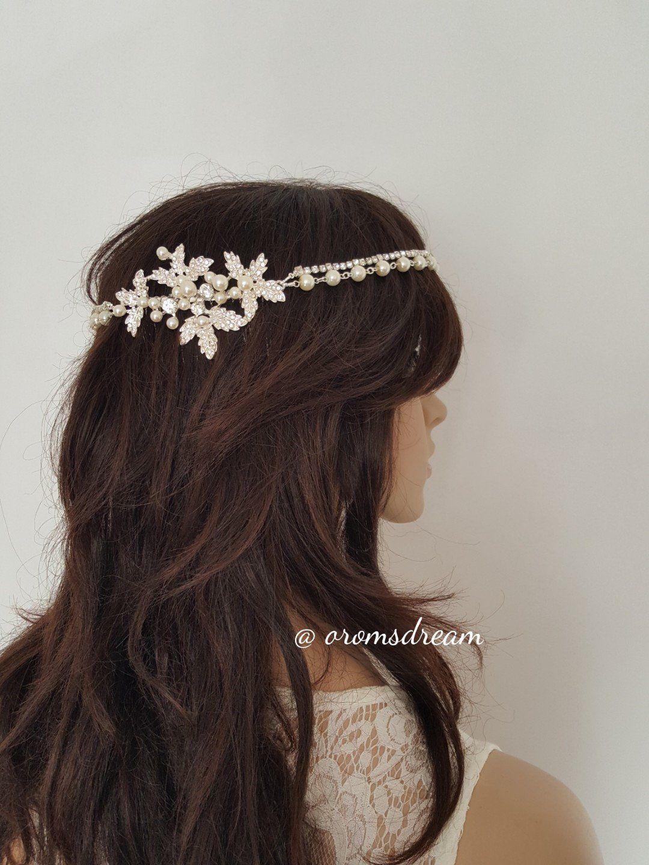 Pearls and crystals bridal halo band bridal headpiece hair comb