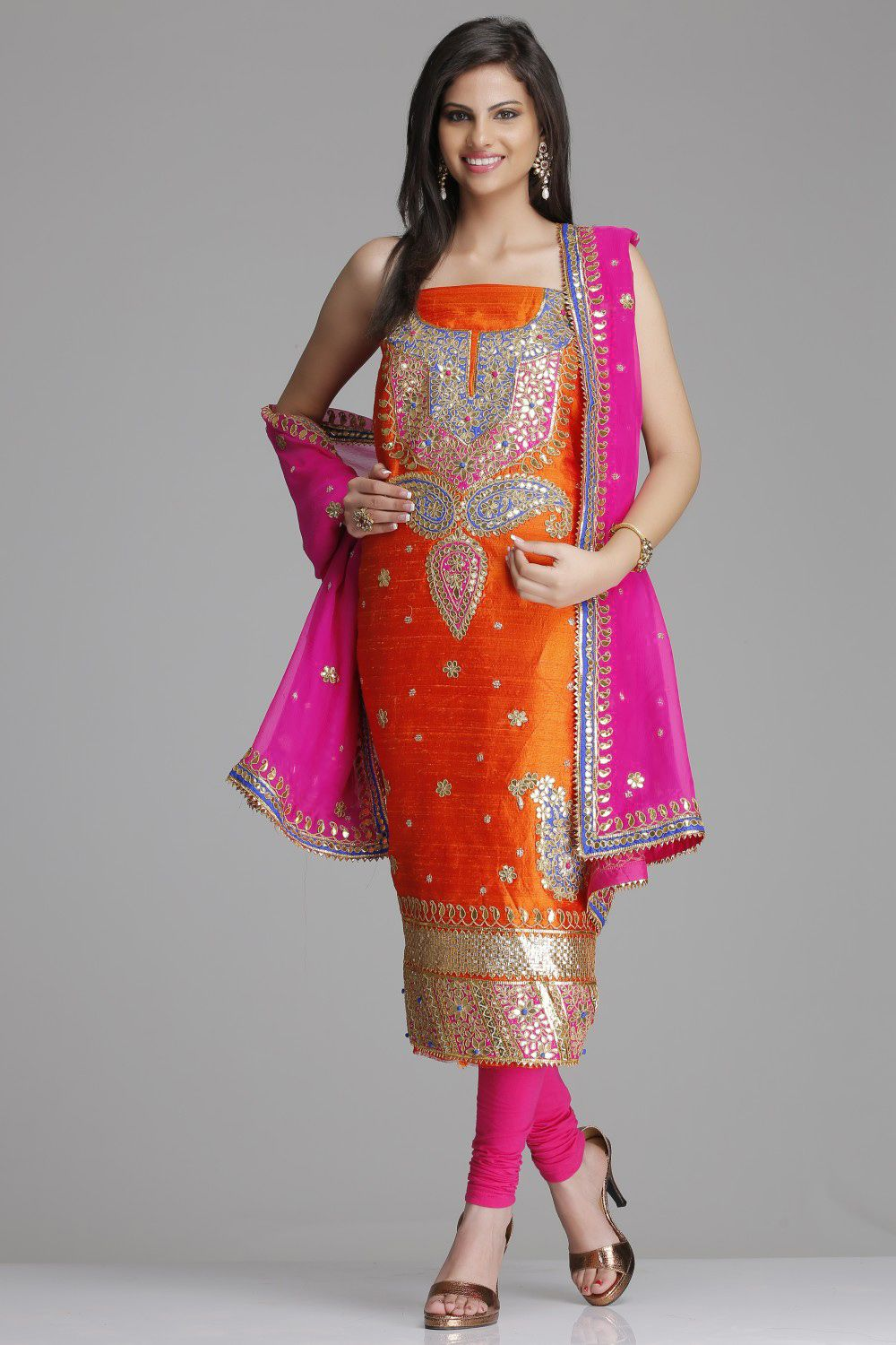 Rana's Sarees-Orange Raw Silk Unstitched Kurta With Heavy Golden ...