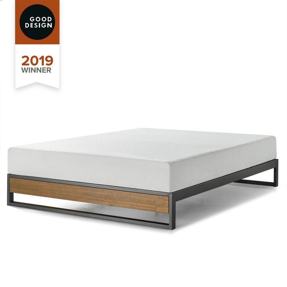 Zinus Good Design Winner Suzanne Brown Twin 10 In Metal And Wood Platforma Bed Frame Hd Irpf 10t The Home Depot In 2020 Wood Platform Bed Frame Bed Frame Zinus
