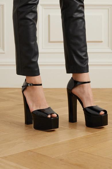 Giuseppe Zanotti Patent Leather Platform Sandals Net A Porter Com In 2020 Leather Platform Sandals Platform Sandals Patent Leather