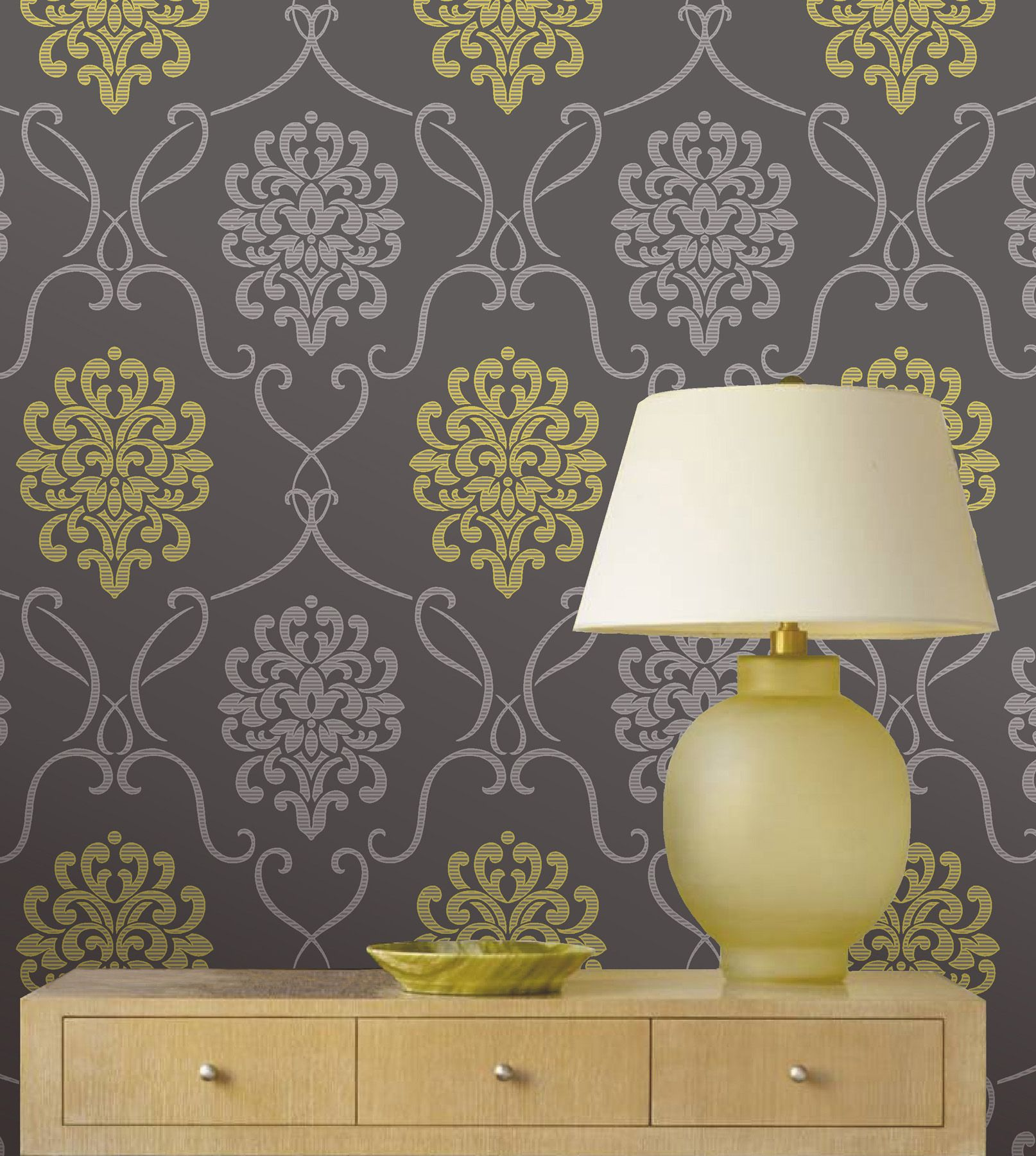 chartreuse green adn grey feature wall wallpaper decor