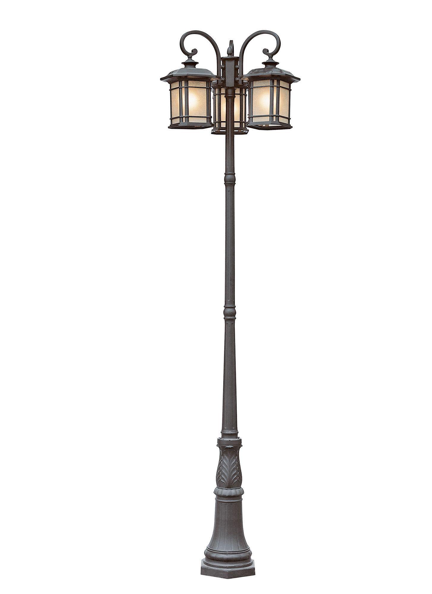 Trans Globe Lighting 5827 Bk Corner Windows 3 Lantern Lamp Post Lamp Post Lights Post Lights Outdoor Post Lights