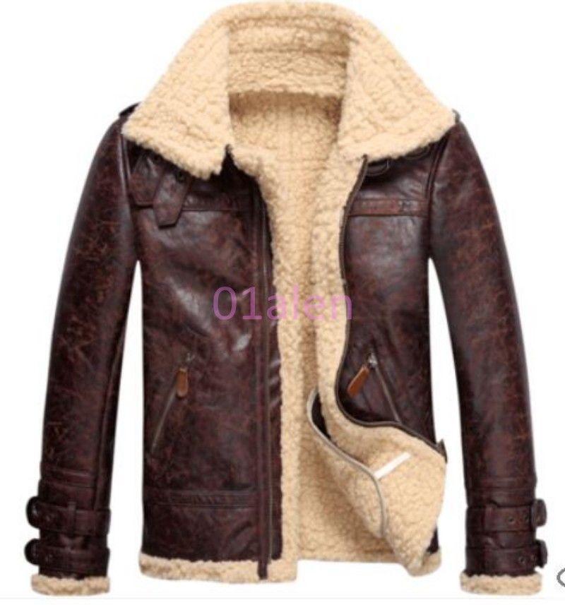 Mens Vintage Leather Lamb Fur Fleece Bomber Flight Winter Coats