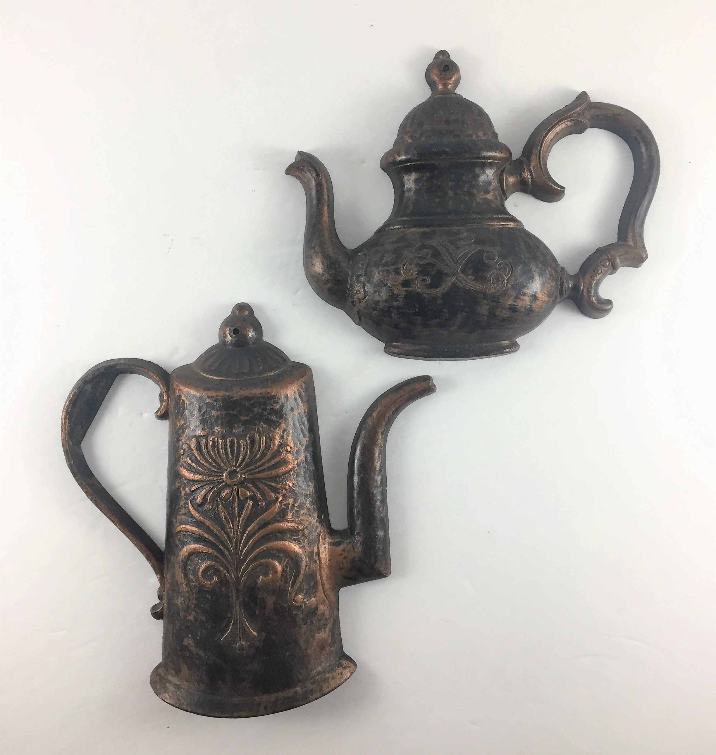 Vintage Kitchen Wall Decor Syroco Teapot And Coffee Pot Copper And Black Syroco Pair Wall Hangings Kitch Kitchen Wall Decor Vintage Kitchen Wall Decor Tea Pots
