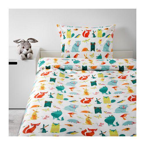Lattjo Animal Multicolour Quilt Cover And Pillowcase 150x200 50x80 Cm Ikea V 2021 G Pododeyalnik Idei Ikea Navolochki
