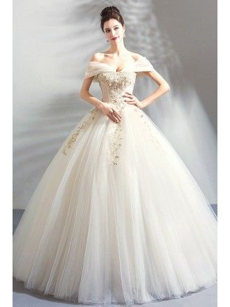 581f59b779e Luxury Embroidery Beige Ball Gown Wedding Dress Princess With Off Shoulder