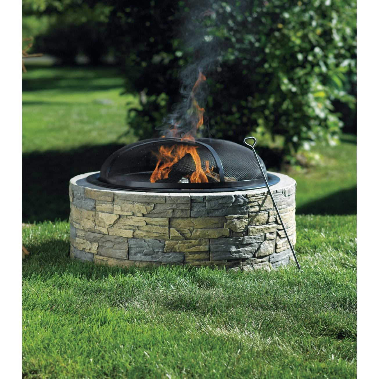 Living accents stacked stone fire pit outdoor for Fireplace half stone