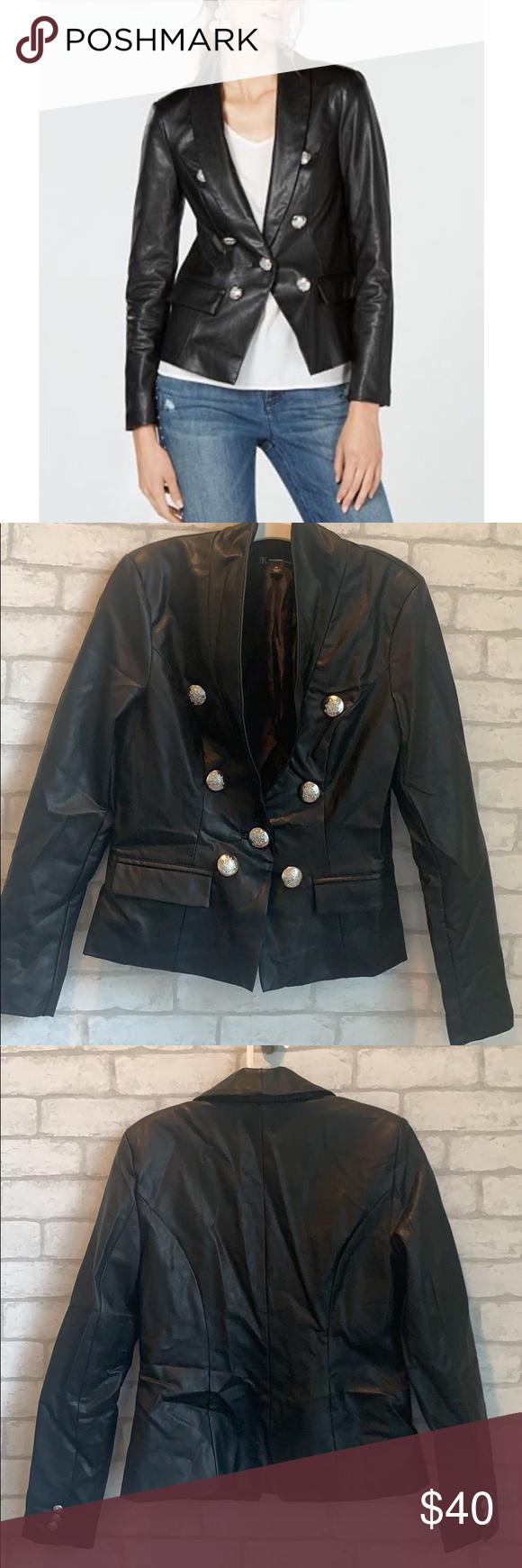 Inc Faux Leather Jacket Blazer Womens Black Leather Jacket Leather Jacket Blazer Jacket [ 1740 x 580 Pixel ]