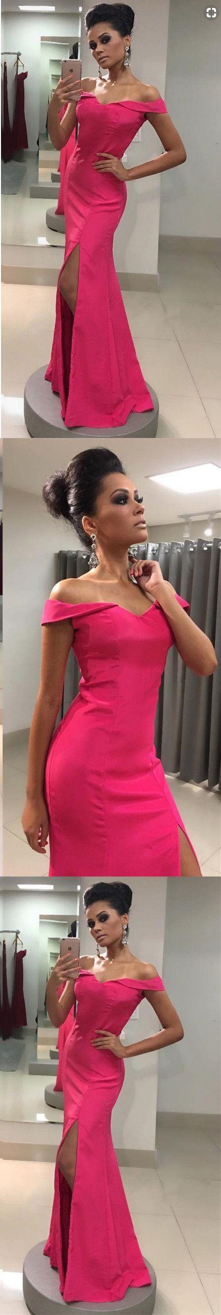Off shoulder mermaid prom dress sexy split slit prom dresses