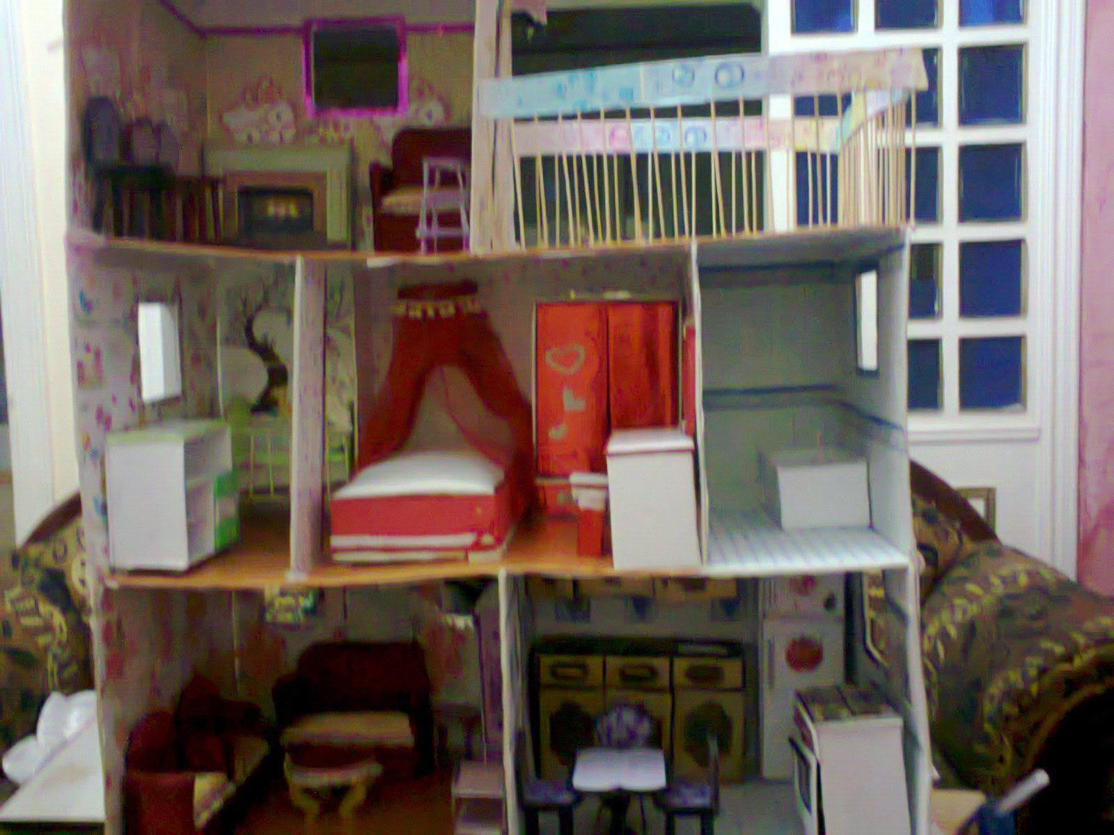 كيف تصنع بيت الدميه باربى من الكرتون Corner Bookcase Home Decor Loft Bed