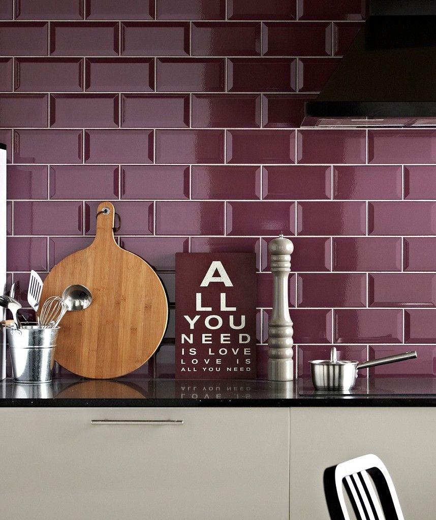 Metro Plum Tile Topps Tiles Kitchen Kitchen Wall