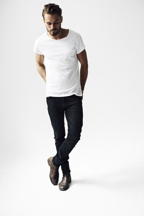 Why complicate things? Any slim chino, denim, trousers, jeans. Any plain white T-shirt, V-neck, crew, LS, SS. Good autumn shoes and there you go...men fashion!