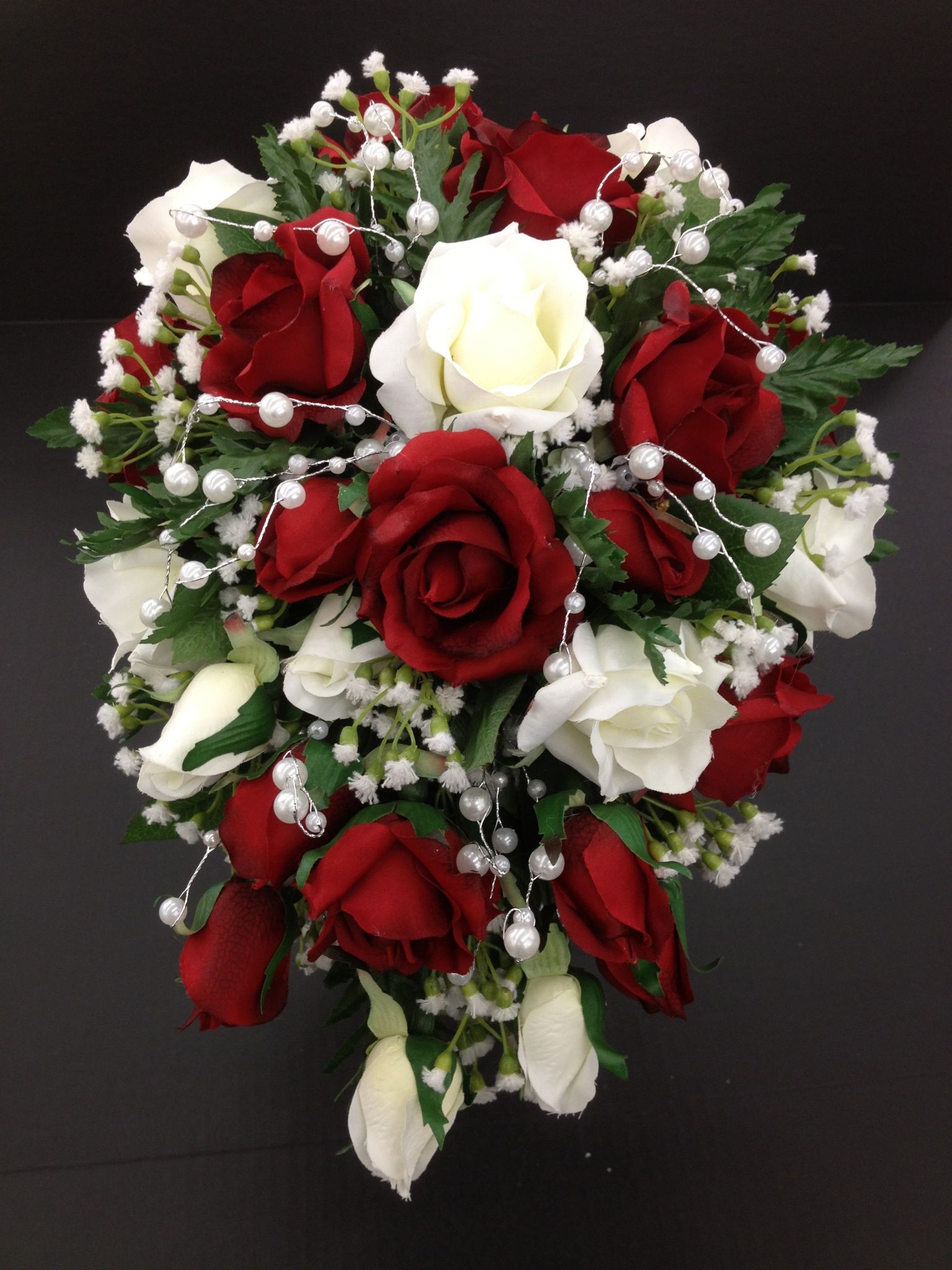 Red And White Roses Cascading Bridal Bouquet Flowers Small