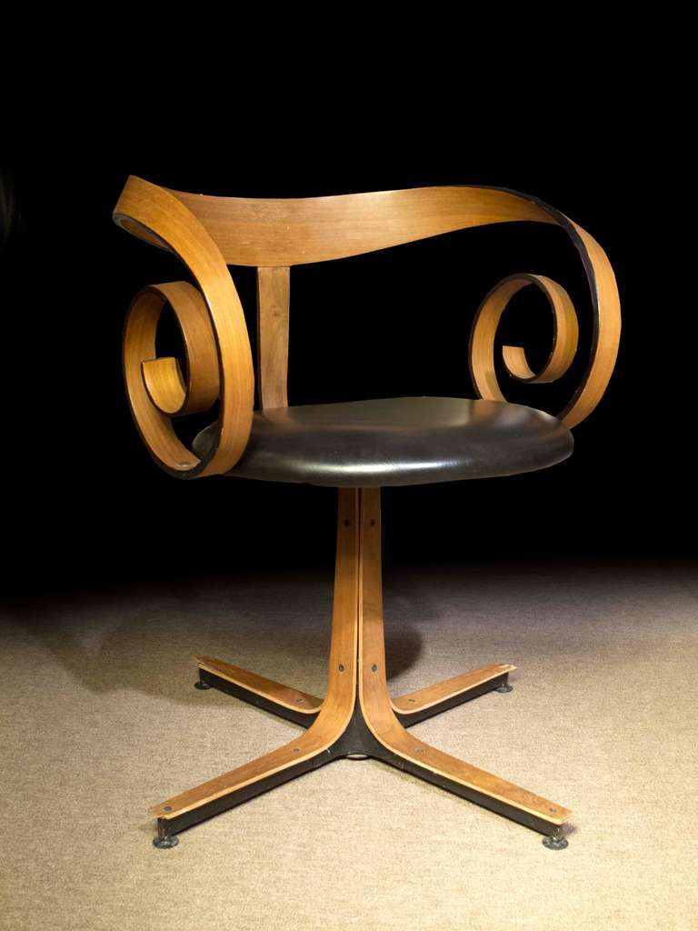 George Mulhauser; #Y036 Bent Walnut Laminate, Leather And Steel Swivel Chair  For Plycraft